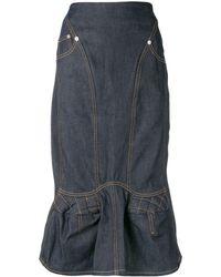 Marine Serre Denim Straight Skirt - Blauw