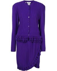 Dior Pre-owned Knitted Ruffle Skirt Suit - Purple