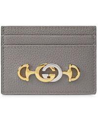 Gucci Zumi Grainy Card Case - Gray