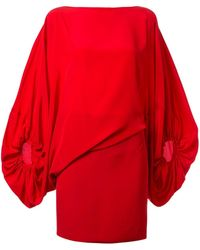 Silvia Tcherassi Genara Asymmetric Balloon-sleeved Mini Dress - Red