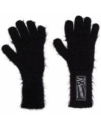 Raf Simons Logo-patch Knitted Gloves - Black