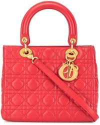 Dior Pre-owned Lady Dior Cannage 2way Bag - Red