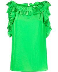 P.A.R.O.S.H. Блузка Без Рукавов С Оборками - Зеленый