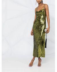 Galvan London Приталенное Платье Миди С Пайетками - Зеленый
