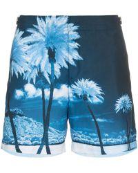 Orlebar Brown 'Bulldog' Badeshorts mit Print - Blau