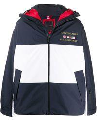 Tommy Hilfiger Color Blocked Hooded Coat - Blue