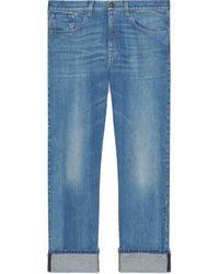 Gucci Denim pant with Web - Blu