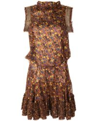 Chloé Embellished Floral-print Playsuit - Brown