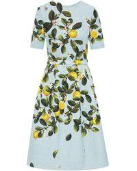Oscar de la Renta Kleid mit Print - Blau