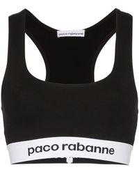 Paco Rabanne ロゴ スポーツブラ - ブラック