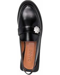 Ganni Loafers Verfraaid Met Kristallen - Zwart