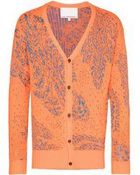 Paria Farzaneh Intarsia-knit Buttoned Cardigan - Orange