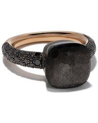 Pomellato 18kt 'Nudo' Rotgoldring mit schwarzen Diamanten und Obsidian