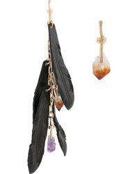 DSquared² Mismatch Crystal And Feather Earrings - Black