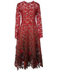 Oscar de la Renta Degrade Cocktail Dress - Red