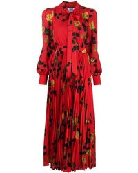 MSGM Платье Миди С Завязками И Принтом - Красный