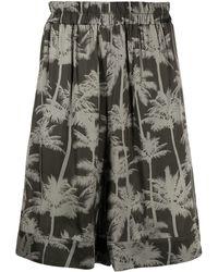Laneus Graphic-print Knee-length Shorts - Green