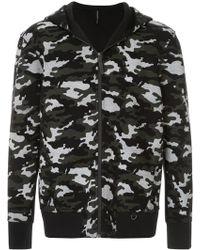 Neil Barrett Mesh Camouflage Print Zip Hoodie - Black
