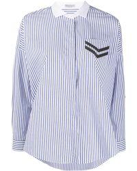 Brunello Cucinelli Полосатая Рубашка С Отделкой На Кармане - Синий