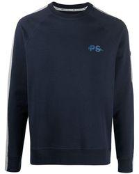 Paul Smith ストライプパネル スウェットシャツ - ブルー