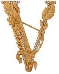 Versace V Leaf Logo Brooch - Metallic