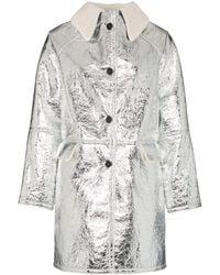 Kassl Editions Shearling Collar Button-down Coat - Metallic