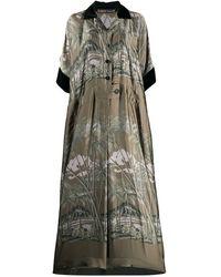 Sacai Tropical Print Maxi Shirt Dress - Green