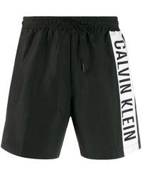 Calvin Klein Striped Logo Swimming Shorts - Black