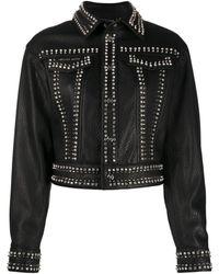 Philipp Plein Leather Skull Biker Jacket - Black
