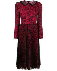 RED Valentino Midi-jurk Met Luipaardprint - Rood