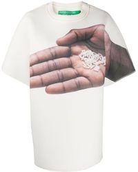 Benetton Camiseta oversize con estampado de mano - Blanco