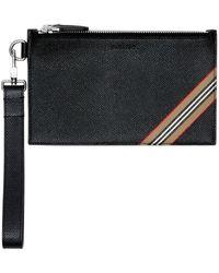 Burberry - Pochette zippée en cuir grainé à rayures iconiques - Lyst