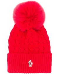 3 MONCLER GRENOBLE Logo Patch Bobble Hat - Red