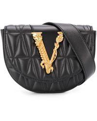Versace Стеганая Поясная Сумка С Металлическим Логотипом - Черный