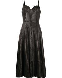 Alexander McQueen Расклешенное Платье Миди С Бюстье - Черный