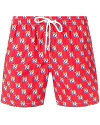 Eleventy Fish Patterned Swim Shorts - Red
