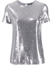P.A.R.O.S.H. Sequin-embellished T-shirt - Grey
