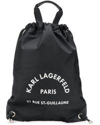 Karl Lagerfeld Rue St Guillaume Drawstring Backpack - Black