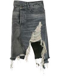 R13 Distressed Denim Skirt - Black