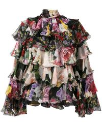 Dolce & Gabbana Tiered Floral Blouse