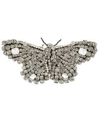 Rochas Crystal Butterfly Brooch - Black