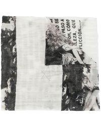 Rick Owens Drkshdw Graphic-print Frayed Scarf - White