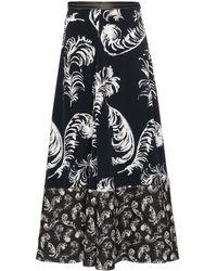 Loewe Leather-trimmed Printed Jersey Midi Skirt - Black