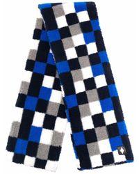 Marcelo Burlon Checkerboard-print Scarf - Blue