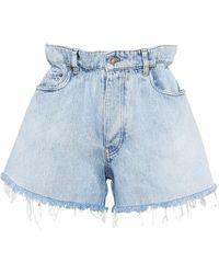 Miu Miu High-waisted Denim Shorts - Blue