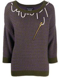 Boutique Moschino エンブロイダリー セーター - グリーン