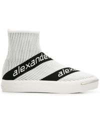 Alexander Wang Logo Stripe Sock Trainers - White