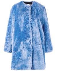 MSGM Faux Fur Collarless Coat - Синий