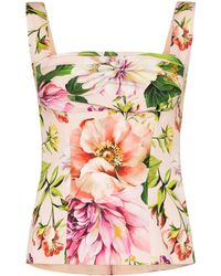 Dolce & Gabbana Gathered floral-print silk-blend top - Multicolore