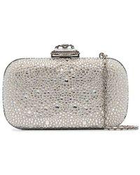 Alexander McQueen Crystal-embellished Suede Box Clutch - Metallic